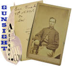 A nice all original Civil War CDV format photograph by J. S. Masseck, Milford, New Hampshire.  The photo bears the period ink identification, <I><B>Geo. Tucker � 14th N. H. Vol. - Co. H -  Died </I></B>.   Born in Grafton NH, George W. Tucker was an 18 year old resident of Concord, New Hampshire when he enlisted on August 28, 1862 and was mustered in as a Private of Co. H <B>14th N. H. Vols.</B>.  He was promoted to Corporal on January 20, 1864 and was wounded at Opequan, Virginia.  Corp. <B>Tucker died of his wounds on September 29, 1864.</B> (see: <I>Register of Soldiers and Sailors of New Hampshire 1861-65</I>) A good honest identified Civil War photograph.  <B>Buy with confidence! </B><I>  We are pleased to offer a <B><U>no questions asked</U> three day inspection with return as purchased on direct sales!</B> <I>Just send us a courtesy  e-mail to let us know your item will be returned per these provisions and your purchase price will be refunded accordingly.</I>  Thanks for visiting Gunsight Antiques!