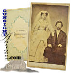 We will let our photographs speak for this scarce Civil War era wedding portrait except to advise that the photographer, <I>J. F.Tucker</I> of Lynville, Tennessee. 