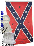 This beautiful early 1900s <I>United Confederate Veterans</I> banner is fashioned from a period printed cotton Confederate flag measuring a nicely displayable 3 X 5 feet .  Remaining bright in color and in exceptional condition, yet with all important evidence of age and originality, the flag is  stenciled <B>U C V  GEN. ASHBY 240</B>.   Boldly marked on one side for vertical display, the piece was clearly intended for indoor use as a banner.  It appears never to have been exposed to the weather or bright sun.  Just rediscovered as we rummage through our long ago tucked away <I>stuff</I>, this old banner was recovered from, of all places, a <I>Yankee</I> <B>G A R</B> hall cleanout.  How the banner came to Maine Civil War veteran hall storage can only be left to the imagination though it seems more than likely that the piece was a souvenir of a trip South for one of the joint G. A. R. � U. C. V.  reunions in the waning days those first generation veterans. U C V Camp #240 was located in Winchester, Virginia the home of Camp 240 namesake Confederate cavalry commander Turner Ashby.  Gen. Ashby was killed in action June 6, 1862, near Harrisonburg and is interred in  Stonewall Cemetery in Winchester, Virginia next to his younger brother Richard Ashby who fell in 1861. <B>Buy with confidence! </B><I>  We are pleased to offer a <B><U>no questions asked</U> three day inspection with return as purchased on direct sales!</B> <I>Just send us a courtesy  e-mail to let us know your item will be returned per these provisions and your purchase price will be refunded accordingly.</I>  Thanks for visiting Gunsight Antiques!  <CENTER><FONT COLOR=#800000>If you have an interest in neat Civil War period things or Maine in the time, you may enjoy our museum site at:</FONT COLOR=#800000></CENTER> <CENTER><B><I>MaineLegacy.com</I></B></CENTER>