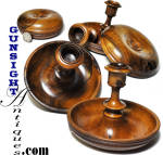Click to view larger image of antique turned fruitwood TRAVELING CANDLESTICKS  (Image2)