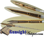 Our photographs will likely do best to describe this striking mother of pearl gold nibbed ink dipping pen.  An exceptionally attractive antique writing instrument remaining in fine original condition even to its as new  <I>Norton & Co. No. 2</I> gold nib. As with <U>all direct sales</U>, we are pleased to offer a <B><U>no questions asked</U> three day inspection with refund of the purchase price upon return as purchased!</B>  Thanks for visiting Gunsight Antiques!