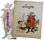 Our photo illustration will likely offer the best description of this colorful old print except to say that it measures 10 X 13 ½ inches and it is offered just as we found it torn from a June 16, 1894 issue of the satirical publication <I>Judge</I>.   The cartoon is titled <I>THE DEMOCRATIC RICHELIEU </I> and is captioned - DEMOCRATIC SENATOR (ex-confederate brigadier):  <I> 'Take away the sword. States can be ruined without it. Bring me the pen,it is mightier than the sword!'</I>  The graphic satire refers to an all too common division between North & South during Reconstruction and the strong feeling by many in the North that ex-Confederate leaders were continuing their attack against the Union utilizing the pen and politics.  A colorful conversation piece, this neat old piece of Americana will frame up nicely. please note:   <B>ALL ITEMS ARE CURRENT & AVAILABLE UNLESS MARKED SOLD!!</B>  Thanks for visiting Gunsight Antiques !!