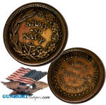These little penny sized coins were struck in the early years of the American Civil War to fill a commercial need when people began hording hard currency.  By July of 1862 even the lowly copper cent had all but disappeared from public circulation.  Though the U. S. Mint began issuing substitute paper money in the usual coinage denominations and folks began using postage stamps to augment that effort, commercial needs demanded something more familiar and more durable. The private minting of what collectors refer to as <I>HARD-TIME</I> TOKENS began to appear in the fall of 1862.   These private issue coins fell in two categories, the <I>patriotic token</I> which did not carry the name of a specific redeemer and the so called <I>store-card</I> type which carried the name of a specific merchant.  The little private issue 'penny'  filled the commercial need and soon enjoyed general acceptance as a means of exchange usually allotted the value of one cent.  The little copper cent was minted in several variations and designs (usually patriotic) and were almost immediately a collectable accounting for some limited availability of nice condition examples still available on today's collectors market.  Not a common find outside of collector circles though, as the short lived Civil War token was outlawed by act of Congress in 1864 when the issuance of currency in any form by private individuals was forbidden.  We have acquired a small collection of these little relics and are offering them individually in our online shop for the collector who would enjoy a nice original example to go in a Civil War grouping or coin collection.  The patriotic example offered here remains in pleasing, uncirculated condition with a natural age patina.  (Will make a neat original Civil War vintage gift without spending lots of money.)You may view all of these that are currently on our site by entering <I> patriotic token </I>  in our search feature.  Thanks for visiting Gunsight Antiques !