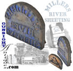 A wonderful display item for the 19th century textile enthusiast, this <B>MILLERS RIVER SHEETING</B> marking stamp emanates from the <I>Millers River Mfg.</I> textile mill located in Massachusetts. (see: Civil War years Mass. business directories as well as <I> The New England Business Directory </I>by Adams, Sampson & Co.)  Located in a cradle of 19th century water powered manufacturing of all manner of goods, Millers River Sheeting was best known in this period for production of cotton sheeting and printing cloth. This textile hand stamp measures approximately 12 X 14 ½ inches and is a stout  3/4 inch thick.  Constructed in the mid-19th century fashion with good evidence of hand chiseling, classic iron hardware and retaining lots of the <I>old blue</I> powder marking paint this hand stamp would have been applied to the outer sheet of large bundles or bales of sheeting destined for textile printing and fabrication mills.  Rarely seen outside of dedicated  museum collections and even then seldom found, this  period original from the heart of New England's 19th century textile region will make a decorative addition to any textile grouping.  <B>Buy with confidence! </B><I>  We are pleased to offer a <B><U>no questions asked</U> three day inspection with return as purchased on direct sales!</B> <I>Just send us a courtesy  e-mail to let us know your item will be returned per these provisions and your purchase price will be refunded accordingly.</I>  Thanks for visiting Gunsight Antiques!     <CENTER><FONT COLOR=#800000>If you have an interest in neat Civil War period things or Maine in the time, you may enjoy our museum site at:</FONT COLOR=#800000></CENTER> <CENTER><B><I>MaineLegacy.com</I></B></CENTER>
