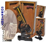 Our photos will likely do best in describing this exceptionally nice Victorian era microscope.  Unmarked as to maker, the microscope remains in fine, as new condition.  Its original 8 x 3 7/8 x 3 hinged case remains in solid condition and is pleasing to the eye while it does offer evidence of age and period use.  A nice item for the optical enthusiast, this old Victorian microscope will set in well with period scientific or medical collectables.  <B>Buy with confidence! </B><I>  We are pleased to offer a <B><U>no questions asked</U> three day inspection with return as purchased on direct sales!</B> <I>Just send us a courtesy  e-mail to let us know your item will be returned per these provisions and your purchase price will be refunded accordingly.</I>  Thanks for visiting Gunsight Antiques!