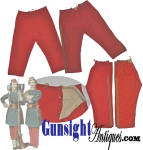 A rare find even in the <I>�good old days�</I> an original pair Civil War vintage crimson red uniform trousers is, with the exception of this offering and as far as we can discern, nonexistent on today�s collector market. We will depend largely upon our illustrations to cover the all-important nuances of period, condition, and originality that are of most interest to the knowledgeable collector and remind the reader that as with <U>all direct sales</U>we are pleased to offer a <B>no questions asked three day inspection with refund of the purchase price upon return as purchased!</B>.  These trousers are of bright red wool with <U>full</U> cotton lining, a buckram strip at the inside waist and the unusual and distinctive feature of a <U>single</U> cotton pocket on the front right hand side.  All is solid and in pleasing condition with good evidence of age and period originality yet with no stains or condition issues save some minimal mothing to the wool which could be easily backed if you wish.  The buttons are the familiar die struck sheet brass <I>utility</I> buttons of the period.  The trouser cuffs are straight with two button holes each in the cotton lining.  It seems as though the trousers had been intended for wear either straight over the ankle or bloused with leggings, the afore mentioned inner button holes utilized with leggings.  The trouser stripes are of classic period bullion tape. (see illustration for trouser dimensions.)   These rare uniform trousers will be of special interest to the collector fortunate enough to have acquired a Civil War issue Zouave uniform jacket. <B>Buy with confidence! </B><I>  We are pleased to offer a <B><U>no questions asked</U> three day inspection with return as purchased on direct sales!</B> <I>Just send us a courtesy  e-mail to let us know your item will be returned per these provisions and your purchase price will be refunded accordingly.</I>  Thanks for visiting Gunsight Antiques!