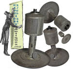 earlier to mid 1800s tinned sheet-iron OIL LAMP