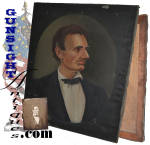 Measuring 24 1/8 x30 ¾ inches on its original stretcher, this oil on canvas beardless Lincoln portrait is signed (<I>A. Aloisi</I>) and offers good evidence of age and originality while remaining in pleasing condition save an easily restorable  small tear just above the ear and some natural age thin spots that are likewise easily restorable. (All easily seen in our illustrations, we have chosen to leave the painting as found to preserve originality.) The painting is taken from a photograph by Alexander Heslet during a June 3,1860 sitting while Lincoln was campaigning for the presidency.  A popular image of the <I>Rail Splitter</I> in the early campaign, Heslet's Lincoln and images taken from his work, became well known in the period and are especially sought by todays collectors.  Lincoln's law partner, William Herndon, commented that the image was <I> so essentially Lincolnian; no other artist has ever caught it.</I>  Nicely done yet offering a crudeness not seen in the work of a trained artist, the special charm of this old piece will place it in the <I>folk art</I> category to most.  An exceptional piece of Americana, this early presidential campaign rendering from the Springfield, Illinois photographer's  a beardless Abraham Lincoln photograph will show off well.  <B>Buy with confidence! </B><I>  We are pleased to offer a <B><U>no questions asked</U> three day inspection with return as purchased on direct sales!</B> <I>Just send us a courtesy  e-mail to let us know your item will be returned per these provisions and your purchase price will be refunded accordingly.</I>  Thanks for visiting Gunsight Antiques!