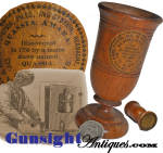 19TH CENTURY TREENWARE PATENT MEDICINE CUP WITH ORIGINAL LABELS
