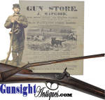 Used in the period but not abused, this classic <I>HAPGOOD</I> percussion forager remains in eye pleasing condition, <U>original</U> and with <U>no alterations</U>.  A rarity in this utility grade working gun, we don�t recall seeing another that has not been severely used and or altered from the original.  Though this example offers good evidence of age and period use, it remains in excellent condition with the exception of the original nipple, which has been corroded by use of the period mercuric primers.  We have left the piece just as it was acquired with an attractive rich brown finish from a proper sperm oil wipe on all iron components before being set aside decades ago.  The straight grain American walnut stock and pinned white oak barrel rib with original hickory ramrod all remain in nice used in the period, but not abused condition.  Brass furniture, like the rest remains untouched with a pleasing measure of age patina.  As to dimensions, this field gun measures 51 � inches in total length with a 36 1/4 inch 69 bore barrel of, classic for Hapgood�s working grade forager, military surplus origin.       Thanks to the popularity of modern day Civil War military site excavation we have good evidence of use of the back-action percussion lock foragers by military foragers (see: Howard R. Crouch <I>Civil War Artifacts</I>). Over the years we have seen many a Hapgood percussion fouler here in New England.  Engaged in the firearms business in his home community of Shrewsbury, Massachusetts from 1826-1847, then in Boston until 1864 when he left the business to return to Shrewsbury, Joab Hapgood handled all manner of arms with more than one grade and style half stock carrying <I>J. Hapgood</I> on its percussion lock. His plain utility forager though, with its back action lock and half stock (frequently produced with smooth bore barrels acquired from European military salvage) was by far the old standby here in New England.  If existing remnants of Hapgood�s plainly des