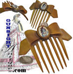 Illustrated here with a quarter for size comparison, this natural horn ladies comb sports a period <I>LADY LIBERTY</I> embellishment that we'd guess was added in the patriotic furor of the period.  (Upon close examination the red and blue, two color printing, period typically poor indexing of the colors, one running over the other, and the figure its self is clearly reminiscent of the work seen on Civil War patriotic mailing envelopes so popular all during the war.)  All in wonderful as found condition, this piece offers good evidence of age and originality by virtue of its period construction methods, material used and eye appealing natural gage patina.  <B>Buy with confidence! </B><I>  We are pleased to offer a <B><U>no questions asked</U> three day inspection with return as purchased on direct sales!</B> <I>Just send us a courtesy  e-mail to let us know your item will be returned per these provisions and your purchase price will be refunded accordingly.</I>  Thanks for visiting Gunsight Antiques!
