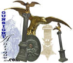 Standing 25 � inches high on its cast plaster pedestal, this classic eagle flag staff finial offers a wing spread of 10 � inches and sports the regimental number <B>9</B> [<B>9th Maine Volunteer Infantry</B>] on its breast.  Acquired by us years ago with a family history of having been returned to descendants by the <B>Nathan Cutler G.A.R. Post #48 </B>upon the passing 9th Maine Civil War veteran Thomas Belcher in 1898.  Belcher had been a resident of the Togus, Maine <B> Home for Disabled Volunteer Soldiers </B> where Post # 48 was located.                 Commensurate with our lifelong interest in history and special passion for digging into the history of Maine related Civil War finds (see: MaineLegacy.com) we set to work with the fragment of verbal history and the number <B>9</B> on the eagle finial and base as a starting point.  Not a lot to go on but we put together the basics and then, after the advent of the internet and the wealth of material made available, we were able to document the story of our unlikely hero Thomas Belcher and his Civil War trophy.  Our research notes will be provided as support of the following:       We first caught up with Thomas Belcher in the 1860 US Census where we found him doing a stretch in the <B>State Prison</B> in Thomaston, Maine.  The offence was recorded as<I>larceny</I>,  It appears that Thomas had paid his debt to society by late spring of 1861 when he is recorded as a 25 year old Bangor, Maine resident enlisting as a Private of Co. I <B> 2nd Maine Volunteer Infantry</B>.  (Considering the relatively short prison stint for the crime of larceny, one wonders if Belchers enlistment wasn�t a condition of his release.)   For some inexplicable reason Belcher was transferred to Co F of the <B>2nd New York Infantry </B> on October 3, 1861 where he served until August 8, 1862 when he was transferred to Co. H back in the <B>2nd Maine Infantry</B>.  While the Maine AG report has Belcher mustering out with the 2nd Regiment back in
