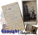 Click to view larger image of Pvt. Asa L. Gowell-10th Mass. Battery Mounted Artillery & son - TINTYPE with CDV (Image2)