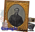 Click to view larger image of Pvt. Asa L. Gowell-10th Mass. Battery Mounted Artillery & son - TINTYPE with CDV (Image3)