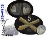 Our photos will offer the best description of this eye appealing offering.  This die struck <I>false bullion</I> Light Artillery hat insignia with battery number fashioned on velvet covered sheet tin remains entirely original and period,.  While this piece remains in excellent condition it offers good evidence of period originality and will satisfy the most discriminating collector.  <B>Buy with confidence! </B><I>  We are pleased to offer a <B><U>no questions asked</U> three day inspection with return as purchased on direct sales!</B> <I>Just send us a courtesy  e-mail to let us know your item will be returned per these provisions and your purchase price will be refunded accordingly.</I>  Thanks for visiting Gunsight Antiques!