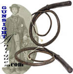 This eye pleasing old drover's whip measures just over 6 feet in length and remains in nice condition, soft and pliable yet with good evidence of age and originality and period use.  It's construction varies from the more usual braided whip of the type in that it was fashioned from bundling multiple tapered strips of hide with a leather covering stitched along its length.  As with the common braided whip, a short piece of cord which could be replaced with use was fitted to the tip.   A must have on the Western bound wagon trail, Army supply train, or cattle drive, the classic 19th century <I>bull whip</I> generally got used up in the period seldom surviving to reach today's collectors market.  A desirable display item in any number of Americana categories.  <B>Buy with confidence! </B><I>  We are pleased to offer a <B><U>no questions asked</U> three day inspection with return as purchased on direct sales!</B> <I>Just send us a courtesy  e-mail to let us know your item will be returned per these provisions and your purchase price will be refunded accordingly.</I>  Thanks for visiting Gunsight Antiques!