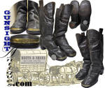Whether you prefer to consider them <I>child�s</I> or, in consideration of their adult style and apparently unworn condition, as <I>sales samples</I>,this exceptionally nice pair of Civil War vintage boots measure 6 3/8 inches heel to toe and stand 9 �  inches high.  With classic Civil War period design and construction that will be familiar to collectors of period military ware, these boots will serve well as a demonstration of the larger examples worn into the Civil War.  Remaining in exceptional original condition, with no evidence of wear, these boots sport the <B>Pat. Nov. 29, 1853 </B> marked brass toe caps as found in so many Civil War site excavations. (see: <I>Excavated Artifacts from Battlefields & Campsites of the Civil War</I> by Phillips)   While there are no maker markings, the classic style with the toe caps and set in patent leather panels with <I> Warranted</I> embossing, are most consistent with the work from the John Batchelder Holliston, Mass. <I>�ten by ten�*</I> cobbler shop.  (So called by 1850s and first half 1860s locals of Holliston, Mass. where nearly one half of the working population labored in a number of small 10 X 10 foot cobbler shops that dotted the countryside.)   Typically as many as a half dozen artisans plied their trade in each <I>ten X ten</I> making boots and shoes under the direction of the owner who marketed the footwear.  In excellent original condition with no <I>issues</I>, this classily styled pair of Civil War era boots are sure to please!  <B>Buy with confidence! </B><I>  We are pleased to offer a <B><U>no questions asked</U> three day inspection with return as purchased on direct sales!</B> <I>Just send us a courtesy  e-mail to let us know your item will be returned per these provisions and your purchase price will be refunded accordingly.</I>  Thanks for visiting Gunsight Antiques!