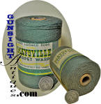 A 800 yard unopened, original label, turn of the century, spool of 8oz. <I>CARPET WARP FOR WEAVING</I> from the January & Woods Inc. <I> Maysville Cotton Mills </I> in Kentucky.  A bit apart from our usual fare but when we had an opportunity to acquire a few spools of this wonderful old cord from turn of the century American grown and milled cotton we could not resist.  Besides those textile collector / historians who would enjoy an early unopened display spool from the historic old Maysville, Kentucky cotton mill, there are other <I>Antiquers</I> who will recognize the practical use potential of 800 yards of turn of the century Kentucky milled, 8oz cotton warp. (Easily distinguishable from <I>modern</I> spun cotton twine, this material will do well in any number of antique applications.)   