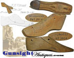 Our illustrations will do best to describe this Civil War vintage item except to advise that the two piece rock maple shoe last measures 10 7/16 inches from toe to the back of the heal and both pieces are marked <B>WHITMARSH PAT. 1864</B>   Our research identified the patentee as <I>Henry M. Whitmarsh</I>, listed as a resident <I>manufacturer</I> of Abington, Massachusetts in the 1860 U. S. Census.  A bit of a variation from the 1864 drawing, this example has the subject iron plate on the heel rather than the toe as illustrated in the drawing.   Well established as a <I>one industry</I>town (shoemaking) by the 19th century, at the time of the outbreak of the Civil War, Abington, Mass. was well positioned to respond to the Union's desperate demand for footwear with major contracts for boots and shoes satisfied by Abington cobblers.