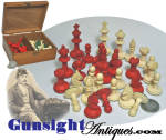 This attractive turned, hand cut  bone chess set is complete and in exceptionally nice <I>as new</I>condition yet with good evidence of age and originality.  The set is housed in its original  5 1/2 X 4 1/4 X 2 3/8 inch dovetail box.  A desirable offering to suit a wide variety of collector interest to include antique games and Civil War personal items. (see: Gettysburg Visitor's Center Civil War Museum collection)  <B>Buy with confidence! </B><I>  We are pleased to offer a <B><U>no questions asked</U> three day inspection with return as purchased on direct sales!</B> <I>Just send us a courtesy  e-mail to let us know your item will be returned per these provisions and your purchase price will be refunded accordingly.</I>  Thanks for visiting Gunsight Antiques !