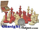 Click to view larger image of Victorian era antique -  BONE CHESS SET (Image2)