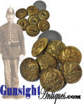 Click here to enlarge image and see more about item 5698: lot of 7 Indian War era Horstman EAGLE BUTTONS