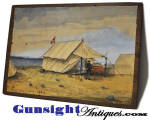 Offered here just as we acquired it, this pleasing old watercolor measures 6 X 8 7/8 inches and is mounted on a period wood board.  On the back is  a faint but discernable pencil notation <I><B> Grass Point Cavalry Camp</B></I>.  Best described by our photos, this watercolor is signed <I><B>Bucknam  July 1883</I></B>.  A nice piece of Americana.  As with <U>all direct sales</U>, we are pleased to offer a <B>no questions asked three day inspection with refund of the purchase price upon return as purchased!</B> Thanks for visiting Gunsight Antiques !