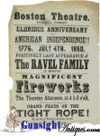 Click to view larger image of July 4th 1850 - BOSTON THEATER BROADSIDE - Ravel Family company of Gymnasts, Tight Rope & Dancers  (Image2)