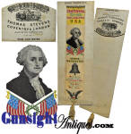 Centennial Stevensgraph silk ribbon with <I>CENTENNIAL 1776-1876 PHILADELPHIA U.S.A. over a portrait of George Washington, the Liberty Bell then <I>And the star spangled banner, long may it wave over the land of The Free and the home of the The Brave.</I> The book-mark size ribbon measures approximately 8 3/8 inches long (plus the silk tassel by 2 5/8 inches wide and remains in nice solid condition with no splits as are so frequently found in old silk and remains on its original Thomas Stevens store card.  An attractive original example of a decorative textile art taking its� name from Thomas Stevens (1828 � 1888) an English silk weaver who developed a mechanical technique which produced fine pictures, portraits and lettering woven in silk thread.  A nice piece of decorative Americana.  <B>Buy with confidence! </B><I>  We are pleased to offer a <B><U>no questions asked</U> three day inspection with return as purchased on direct sales!</B> <I>Just send us a courtesy  e-mail to let us know your item will be returned per these provisions and your purchase price will be refunded accordingly.</I>  Thanks for visiting Gunsight Antiques!