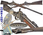 This honest old .52 caliber percussion Sharps carbine is all original and mechanically sound with a crisp tight action.  Offering a smooth nicely age patinated   surface on all metal components with some dark staining typical to age and <I>issued</I> arms, is set off by good evidence of period use and carrying.  A close look even shows smooth telltale wear to the sling ring bar that is inevitable to use of the cavalry carbine sling with its heavy iron clasp.  The wood is solid with the high grain one looks for as assurance that it has not been worked down or re-finished.  The usual minor dents from use and a small period chip at the wrist adjacent to the top tang and frame are not objectionable (see photos).  Evidence of inspector cartouche visible under the sling ring bar.   Worn commensurate with use but legible are barrel markings: <B>New Model 1859 & SHARPS RIFLE / MANUFG. CO. / HARTFORD, CONN.; on the receiver:  C, SHARPS  PAT. / SEPT. 12TH 1848</B> and on the lock: <B>C. SHARPS' PAT. / OCT. 5TH 1859 & R, S, LAWRENCE PAT. / APRIL 12TH 1859</B>.  Of significance to the Civil War collector / historian is the serial number <B>48854</B> which puts this carbine in the serial number range of issue to the <B>6th New York Cavalry</B>.  The closest sharps carbine serial number available in our <I>issue</I> database was<U> just 12 arms from carbine</U><B>48854</B> and was issued to the <B>6th NY Cavalry</B>.   A desirable neighborhood in consideration of the history of the hard fought New York Cavalry regiment.  The 6th New York Cavalry participated in such well known actions as the Siege of Yorktown, Battle of Williamsburg, Fair Oaks, Savage Station, Malvern Hill, South Mountain, <B>Antietam, Fredericksburg</B>, Battle of <B>Chancellorsville</B>, Brandy Station and Beverly Ford, <FONT COLOR=#0000FF><I><B> Battle of GETTYSBURG</B></I></FONT>, Brandy Station, Mine Run Campaign, Demonstration on the Rapidan, <B>Wilderness, Spotsylvania</B>, North Anna, Yellow Tavern, Totopotomoy, Cold Harbor, Battle of Winchester, New Market, Five Forks, Petersburg, Sailor's Creek, Appomattox Court House, the Surrender of Lee and his army and more.  To these the cavalry historian may add an equal number of actions specific to the Cavalry.  A nice solid, all original Sharps carbine!  <B>Buy with confidence! </B><I>  We are pleased to offer a <B><U>no questions asked</U> three day inspection with return as purchased on direct sales!</B> <I>Just send us a courtesy  e-mail to let us know your item will be returned per these provisions and your purchase price will be refunded accordingly.</I>  Thanks for visiting Gunsight Antiques! 