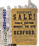 Remaining in pleasing all original condition with no tears or repairs and in an easily displayable 11 3/8 X 17 inches, this attractive broadside advises of an 1884 <I>EXECUTOR'S SALE & PUBLIC AUCTION</I>  at the Bedford, New Hampshire store of James R. Leach.  The auction will offer <I>4 Shares of the Parsonage Association, 1 Pew in the Presbyterian Meeting House</I> and <I>1 Horse Shed at said Meeting House</I>  A nice piece of decretive Americana!  <B>Don't forget to give our search feature a try</B> for special wants. A simple <B>key word</B> in lower case works best. Thanks for visiting Gunsight Antiques !!