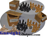 extra nice! Civil War era turned birch Chess Set in MEDICAL BOX