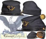 Our illustrations will likely speak best for this attractive pattern of 1872 forage cap. Some minor mothing in the form of a few very small holes will not be objectionable in light of the desirable Indian Wars pattern and over all condition. Nice infantry <B>I</B> buttons and the correct (smaller than Civil War) infantry device set this classic off nicely.  It should be noted that the infantry device attachment wires are <U>under</U> the lining rather than passing through the lining as they would on later embellishment. (Always a concern!)  A nice brown cotton lining is set off by a <B>J. A. Joel & Co. 88 Nassau St. N.Y.  MILITARY SUPPLIES</B> label.   As an aside, Joseph A. Joel was an Ohio resident prior to the Civil War.  He enlisted at the age of nineteen as a Private in Co. F 23rd Ohio.  Wounded at South Mountain, MD, was discharged for disability before the wars end. He shows up in New York as early as 1867 where he is listed as a clerk. By 1891 Joel had formed a military supply business which he ran until 1911 when his sister is listed as chief operator.  Tough to find in any condition with far fewer examples manufactured than the earlier Civil War pattern, this scarce 1872 pattern remains in pleasing condition and  will lay in nicely with any period grouping.  <B>Buy with confidence! </B><I>  We are pleased to offer a <B><U>no questions asked</U> three day inspection with return as purchased on direct sales!</B> <I>Just send us a courtesy  e-mail to let us know your item will be returned per these provisions and your purchase price will be refunded accordingly.</I>  <FONT COLOR=#0000FF>Thanks for visiting Gunsight Antiques! :</FONT COLOR=#0000FF>