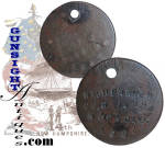 This desirable Civil War soldier's identification disk was hand fashioned from a period U. S. large cent, its faces filed flat and stamped <B>WM. H. PARKER   CO.G  14TH  N.H.VOLS.   1862</B>   Provenance is offered by a deep, obviously natural age patina and our letter documenting the fact that the piece emanated from the long time personal collection of Dr. Francis Lord. (see below)  William Henry Parker was a 16 year old resident of Keene, New Hampshire when he enlisted on June 19 1861 as a <U>drummer</U> of Co. H <B>2nd New Hampshire Infantry</B>.  Parker was discharged for disability at Bladensburg, Maryland approximately one month after the July 21 Union rout at <B>1st Bull Run</B>.  The 2nd N. H. Volunteers loss there was reported as 7 killed, 56 wounded, 46 missing.  Not to be denied, young William Parker enlisted once more on September 23. 1862 and was mustered into Co. G of the <B>14th New Hampshire Infantry</B>.  He was transferred into the Veteran Reserve Corps on July 1, 1864 and was discharged for promotion on April 18, 1865 and was commissioned 2nd Lieutenant  A Co. 6th U. S. Volunteer Infantry.   He was Breveted to 1st Lt. on January 2, 1866 and was mustered out on October 15, 1866.   After the war Parker relocated to Deadwood, South Dakota, where he died in 1908.  He is interred at Arlington National Cemetery.  Of interest to the collector and preserved in our accompanying letter will be the fact that we  acquired this piece several years ago  when we were fortunate enough to purchase several groupings from the personal collection of our longtime friend, Dr. Francis Lord.  A pioneer Civil War collector from a day when nearly no one else paid much attention to the details of many now valued Civil War collectable categories, Francis authored the widely known, multi volume, pioneer reference, <I>Lord's CIVIL WAR COLLECTORS ENCYCLOPEDIA</I>.  While a lot of detailed knowledge has been gained as the interest and <U>value</U> of Civil War collectibles increased so dramatically over the years, Dr. Lord's first and second volumes in particular and his <I>Civil War Sutlers & Their Wares</I> continue to offer valuable and reliable reference to Civil War collectors.  (Use <I>Lord</I> in our search feature to find other Lord collection items.) Thanks for visiting Gunsight Antiques!