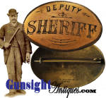 This nice DEPUTY SHERIFF badge measures approximately 2 ¼ X 1 9/16 inches and remains in pleasing all original condition with good evidence of age and period use.  Maker marked <I>Iver Johnson Co. Boston</I> on the back.  An attractive companion piece set in a gun collection, this turn of the century police badge will go well in any law enforcement collection.  <B>Buy with confidence! </B><I>  We are pleased to offer a <B><U>no questions asked</U> three day inspection with return as purchased on direct sales!</B> <I>Just send us a courtesy  e-mail to let us know your item will be returned per these provisions and your purchase price will be refunded accordingly.</I>  <FONT COLOR=#0000FF>Thanks for visiting Gunsight Antiques! :</FONT COLOR=#0000FF>