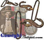Unlike the heavier and more commonly encountered British style snake buckle that saw common use in England, Canada and yes in the American Civil War where quantities were shipped to this country via blockade runner intended for issue by the Confederacy, collectors will note that this excavated example is the lighter, more finely detailed two headed snake most commonly associated with those marketed by <B>Isaac Campbell & Co.</B>  (see illustrations: <I>Suppliers to the Confederacy</I> by Barry & Burt) as they filled orders from the Southern Confederacy for all manner of arms and accoutrements. This example is offered as found without its ringed keeper but remaining in excellent original condition with a pleasing deep natural age patina. <B>Buy with confidence! </B><I>  We are pleased to offer a <B><U>no questions asked</U> three day inspection with return as purchased on direct sales!</B> <I>Just send us a courtesy  e-mail to let us know your item will be returned per these provisions and your purchase price will be refunded accordingly.</I>  <FONT COLOR=#0000FF>Thanks for visiting Gunsight Antiques! :</FONT COLOR=#0000FF>
