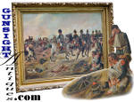 Click here to enlarge image and see more about item 5856: Napoleon Bonaparte & The Battle of Waterloo -OIL PAINTING
