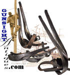 An outstanding pair of blacksmith forged telegraph climbing irons, all original with classic period construction even to the forged on spurs and original harness leather foot straps complete with original iron roller buckles.  A desirable companion item to set with any early Civil War Signal Corps, frontier West, telegraph or Railroad grouping. <B>Buy with confidence! </B><I>  We are pleased to offer a <B><U>no questions asked</U> three day inspection with return as purchased on direct sales!</B> <I>Just send us a courtesy  e-mail to let us know your item will be returned per these provisions and your purchase price will be refunded accordingly.</I>  <FONT COLOR=#0000FF>Thanks for visiting Gunsight Antiques! :</FONT COLOR=#0000FF>