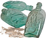 A nice period <I>Double Eagle</I> one pint patriotic whiskey flask. All in pleasing condition with no chips, flakes, cracks or condition issues, this beautiful hand blown aqua flask with its classic hinged mold marks and applied top will sit well in any earlier to mid 1800s antique grouping. <B>Buy with confidence! </B><I>  We are pleased to offer a <B><U>no questions asked</U> three day inspection with return as purchased on direct sales!</B> <I>Just send us a courtesy  e-mail to let us know your item will be returned per these provisions and your purchase price will be refunded accordingly.</I>  Thanks for visiting Gunsight Antiques!