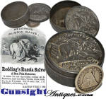 Well documented by Civil War site <I>digger</I> historians and period print advertisement, it seems that these little die stamped tin containers saw common use once the original content was used up.  Seldom seen in any kind of condition save partial excavated examples, these little boxes made handy containers for stamps, thread, salt or anything that would fit.  Listed in Civil War vintage Boston directories, <I>Redding & Co.</I> marketed their <B>RUSSIAN SALVE</B> (composed of bee wax, perfumed oil and glycerin) as <I> a <I>pain extractor</I> that <I> reduces the most angry-looking swellings and inflammations, heals sores, wounds, burns, scalds, etc. as if by magic.</I> [ 1864 Harpers Weekly ] This original example with its military motif REDDING & Co. lid remains in excellent condition and will make a nice addition to any Civil War personal or medical cure groping.  <B>Don't forget to give our search feature a try</B> for special wants. A simple <B>key word</B> in lower case works best. Thanks for visiting Gunsight Antiques !!