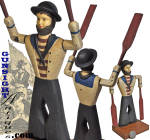 Click to view larger image of vintage folk-art  carved and painted Sailor  Whirligig (Image3)