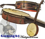 Click here to enlarge image and see more about item 5987: Civil War era antique 5 string – FRETLESS BANJO