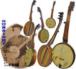 Click here to enlarge image and see more about item 5994: Civil War era antique 7 string – FRETLESS BANJO