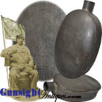 Click here to enlarge image and see more about item 6008: Civil War vintage - South Carolina Palmetto – TIN HIP FLASK