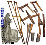 Civil War vintage handcrafted Cherry Wood - CRUTCHES