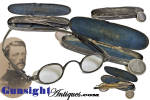 This attractive pair of heavy nickel silver framed spectacles remain in excellent condition with a pleasing natural age patina and are nicely maker marked<B>COOPER</B> on the right temple. This sliding temple came into use in about 1800 and remained in popular use through the Civil War period.  These neat Civil War vintage eye classes remain in their <B>PARKER'S PAT. 1860</B> marked case complete with original liner. Spectacles and case show appealing evidence of age and period use yet remain pleasing all original condition.  <B>Buy with confidence! </B><I>  We are pleased to offer a <B><U>no questions asked</U> three day inspection with return as purchased on direct sales!</B> <I>Just send us a courtesy  e-mail to let us know your item will be returned per these provisions and your purchase price will be refunded accordingly.</I>  <FONT COLOR=#0000FF>Thanks for visiting Gunsight Antiques! </FONT COLOR=#0000FF>