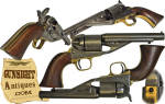 An eye appealing example of Colt's earliest cartridge pistol design, the <B>Richards / Mason  Conversion</B> of the .38 caliber <B>1861 New Mod. Navy</B> was there effort to enter the breach loading cartridge market while utilizing a huge over stock of left over Civil War percussion parts both from overflowing assembly bins at the factory and from completed and used percussion revolvers that had been returned to Colt for the cartridge modification.  Necessary new components, primarily the Richards patent recoil shield, loading gate, cylinder and hammer firing spur along with the Mason patent ejection rod and housing were manufactured by Colt to complete the conversion.  Conversion numbers, in this example matching the last four digits of the original percussion frame serial number (32533), were applied to the cartridge loading gate and new unrebated cylinder.  This example appears to have left Colt <I>in the white</I>and was clearly <I>re-issued</I> with new factory grips mounted on the old well used percussion frame.  (A desirable example of a Civil War vintage manufactured and used conversion base, serial number 32533 of the New Model 1861 Navy percussion revolver was <U>manufactured in 1863</U>.)  Remaining in excellent condition, the barrel length of this example appears to have been shortened in the period to 5 ½ inches with the application of a <I>bead</I> front sight.  This desirable example of the seldom found Colt offers <U> matching numbers</U> and marked <B>-PAT. JULY 25, 1871-     -PAT. JULY 2, 1872- </B> on the frame with <B>-ADDRESS COLONEL SAML COLT NEW-YORK AMERICA-</B> on the barrel.  With a number of minor production variations, limited records and the scarcity of existing examples to study, per Norm Flayderman's guide total manufacture of this model conversion was limited to approximately 2200, these arms have been a bit of a challenge to collectors in so far as variation specifics.  Excellent references are:  James Serven's <I> Colt Cartridge Pistols</I> (pub. 1952); <I>Colt Firearms- 1836 – 1954</I> by the same author, (pub. 1954) and E. Dixon Larson's <I> Colt Tips</I> (pub. 1972) As always Norm Flayderman's <I> Guide to American Antique Firearms</I> offers good general information while variation specifics will require the earlier references.   <B>Buy with confidence! </B><I>  We are pleased to offer a <B><U>no questions asked</U> three day inspection with return as purchased on direct sales!</B> <I>Just send us a courtesy  e-mail to let us know your item will be returned per these provisions and your purchase price will be refunded accordingly.</I>  <FONT COLOR=#0000FF>Thanks for visiting Gunsight Antiques! </FONT COLOR=#0000FF> 