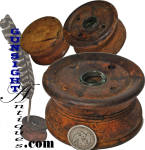 Standing approximately 1 ¾ inches with a 3 3/8 inch diameter this untouched and as found turned wood inkwell will be a classic in any American Colonial / Revolutionary War era surrounding and with a turkey quill, will make a nice addition to any antique writing instrument collection.  Best described by our photo illustrations good reference may be found in Neumann's  <I>EARLY AMERICAN ANTIQUE COUNTRY FURNISHINGS</I> and Newmann & Kravic's <I>COLLECTOR'S ILLUSTRATED ENCYCLOPEDIA of the AMERICAN REVOLUTION</I>  <B>Buy with confidence! </B><I>  We are pleased to offer a <B><U>no questions asked</U> three day inspection with return as purchased on direct sales!</B> <I>Just send us a courtesy  e-mail to let us know your item will be returned per these provisions and your purchase price will be refunded accordingly.</I>  <FONT COLOR=#0000FF>Thanks for visiting Gunsight Antiques! </FONT COLOR=#0000FF>