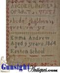 Click to view larger image of 1864 Dated – SCHOOLGIRL  SAMPLER (Image2)