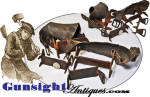 1700s early through mid 1800s HANDWROUGHT  ICE CREEPERS – original leathers!